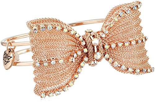Gold Tone Mesh Bow (Betsey Johnson Women's Mesh Crystal Bow Hinged Bangle Bracelet)