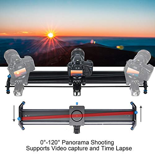 "GVM Motorized Camera Slider, 31"" Aluminum Alloy Track Dolly Rail Camera Slider with Tracking Shooting, 120 Degree Panoramic Shooting and Time-Lapse Photography for Most DSLR Cameras, Load up to 22lbs"