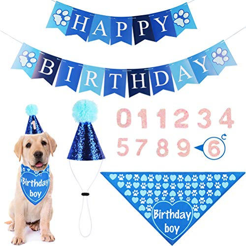 Dog Birthday Bandana with Hat & Banner- Party Supplies Decorations, Cute Birthday Outfits, Ideal Gift for Small Medium…