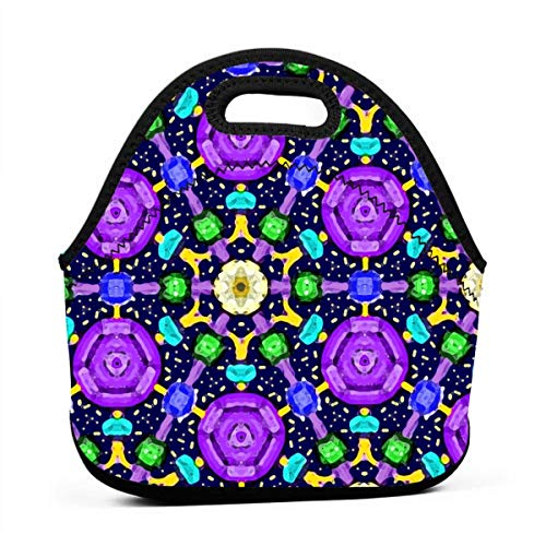 Jeweled Space_6624 Multifunctional Portable Bento Bag,Lunch Box Bag For School Travel Work Office