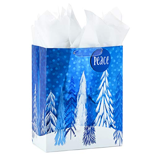 Hallmark Large Holiday Gift Bag with Tissue Paper (Blue Trees Peace)