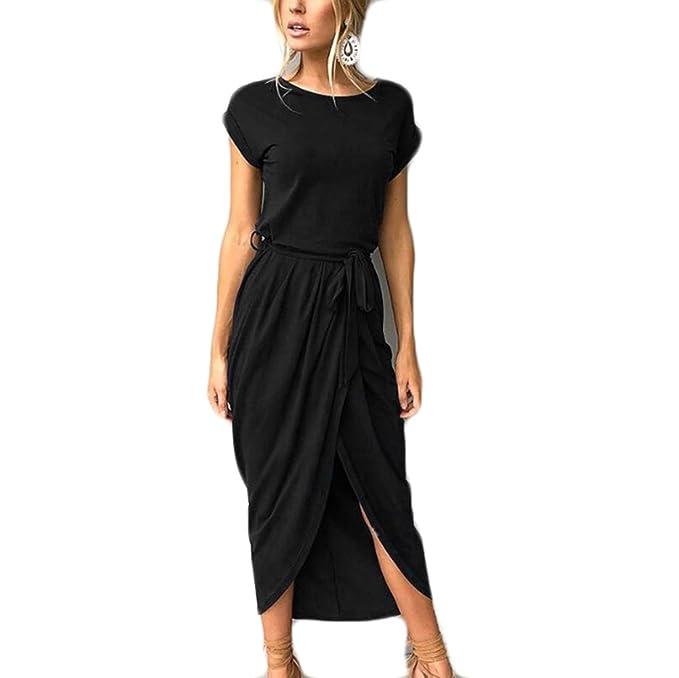 AOWEI EC Mujer Vestidos Largos Casuales Vestidos de Noche Elegantes con Manga Corta Maxi Vestidos de