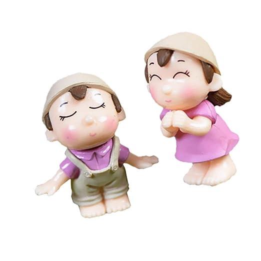 Futurekart Mini Couple Boys Girls Figurines Bonsai Fairy Garden Terrarium Flowerpot Decor Pick 2 Pieces ? Pink?