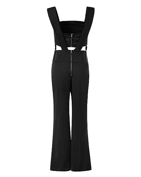 7db71067b51 Guiran Women s Elegant Sleeveless V-Neck Romper Playsuits Long Evening  Party Cocktail Formal High Waist Wide Leg Jumpsuit  Amazon.co.uk  Clothing