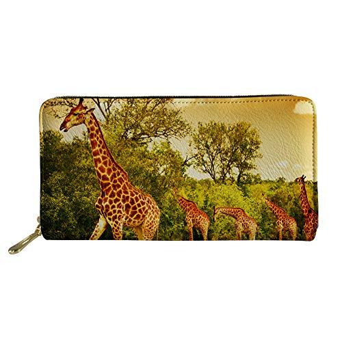 Womens Giraffe Print Wallet - Bigcardesigns Women Wallet Rfid Blocking Giraffe Print Organizer Long Clutch