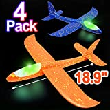 Dreamoo 4 Pack Foam Airplane Toys for Kids, 18.9'' Large LED Light Up Throwing Plane Foam Glider Airplane Outdoor Sport Flying Toys for Boys Girls, Flying Game Toy Gift for Kids
