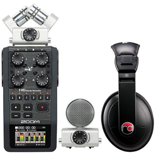 Zoom H6 Six-Track Portable Recorder w/ Resident Audio R100 Headphones - Bundle by Zoom