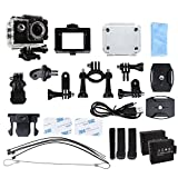 WIFI Action Camera Full HD 1080P 12M 2.0inch waterproof diving Camera with 2 Batteries and Free accessories kit Underwater video Camera (Black)