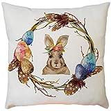 Weiliru Decorative Easter Festival Series Cute White Rabbits Throw Pillow Case Cushion Cover 18'' x 18''