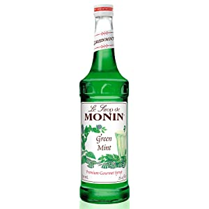 Monin - Green Mint Syrup, Bold Peppermint Coolness, Natural Flavors, Great for Smoothies, Sodas, Cocktails, and Teas, Non-GMO, Gluten-Free (750 ml)