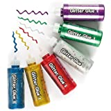 Jumbo Coloured Glitter Glue - Arts & Crafts Supplies. Card Making, Collages & Scrapbooking Essentials (Pack of 6 x 120g)