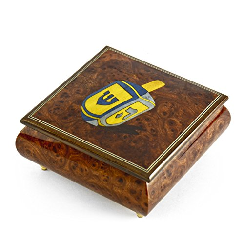 Traditional Jewish Dreidel Wood Inlay Musical Jewelry Box - There is No Business Like Show Business by MusicBoxAttic (Image #4)