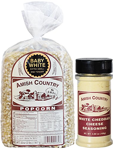 Amish Country Popcorn Baby White Bundle Packs - Recipe Guide & 1 Year Freshness Guarantee (2 Lb White Cheddar) ()