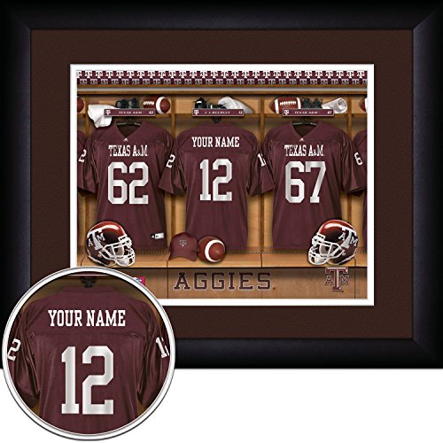 Prints Charming Texas a&M Aggies Personalized Locker Room Jersey Framed Print, 15 x (Texas A&m Locker Room)