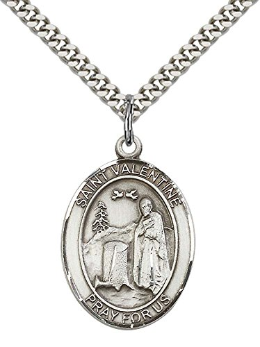 F A Dumont Church Supplies Sterling Silver St. Valentine of Rome Pendant with 24
