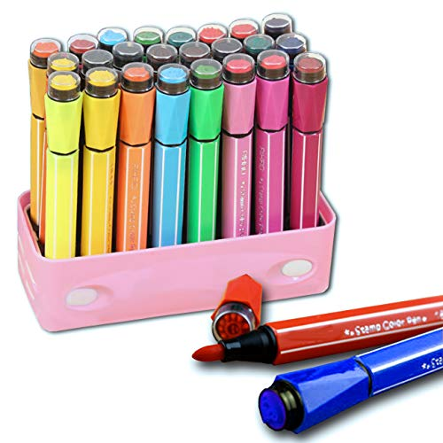 (24 Colors Watercolor Marker Pens with Cute Stamp by Lasten,Color Pens for Painting Coloring Drawing Doodling Writing)
