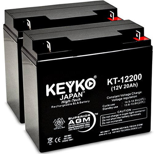 Solar Booster Pac ES7000a Jump Starter Batteries 12V 22Ah SLA Sealed Lead Acid Rechargeable AGM Replacement Battery Genuine KEYKO (W/ L-1 Terminal)- 2 Pack