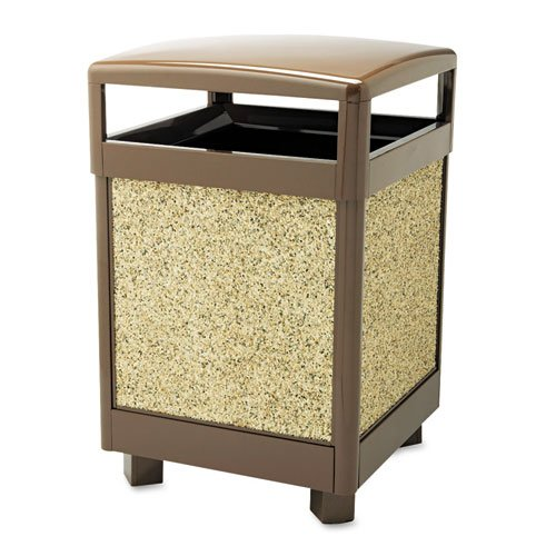 Rubbermaid Commercial Aspen Series Outdoor Waste Receptacle, Square, Steel, 38 gal, Brown - one waste receptacle.