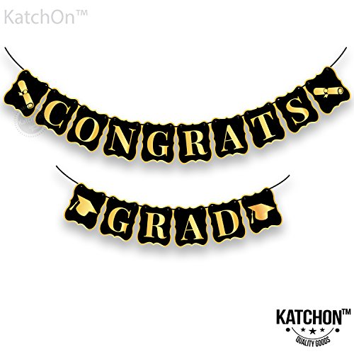 Congrats Grad Banner, Black and Gold - No DIY Required, USA, Graduations Party Supplies 2018 | Classy and Luxurious Banner for Graduation Banner for Graduation Decoration -