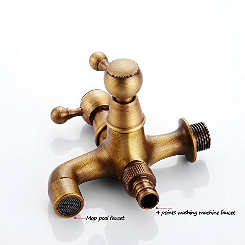 Faucet-European antique copper 4 points 6 points washing machine lengthened into the wall single cold mop pool (Color : E) by Faucet (Image #2)