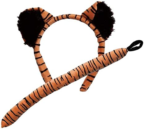 Tiger Kit Ears Tail Cat Animal Fancy Dress Halloween Adult Costume Accessory