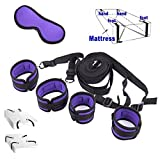 Intimate Melody® Premium King Bed Restraints System Kit Medical Grade Straps with Comfortable Wrist and Ankle Cuffs Fits Almost Any Size Mattress,Free Eyemask Included (Purple and Black)