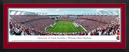 (South Carolina Gamecocks Football - End Zone - Double Mat, Deluxe Framed Print by Blakeway Panoramas)