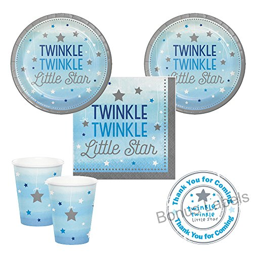 Twinkle Twinkle Little Star boy Baby Shower or First birthday party supplies - small plates, napkins, cups, plus bonus (Twinkle Twinkle Little Star Paper Plates)
