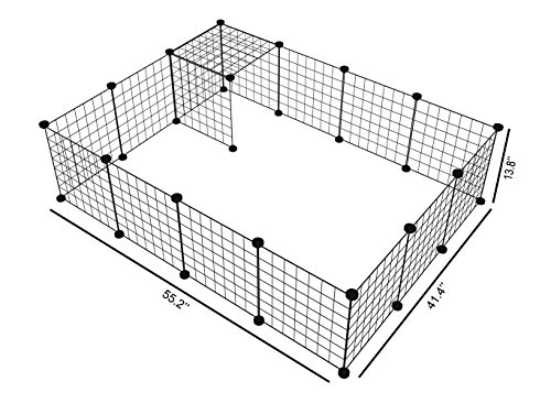 LANGXUN 16pcs Metal Wire Storage Cubes Organizer, DIY Small Animal Cage Rabbit, Guinea Pigs, Puppy | Pet Products Portable Metal Wire Yard Fence (Black, 16 Panels) by LANGXUN (Image #2)