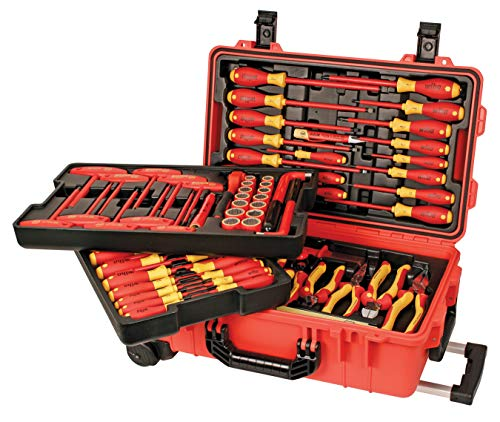 Wiha 32800 Insulated Tool Set with Screwdrivers, Nut Drivers, Pliers, Cutters, Ruler, Knife and Sockets in Rolling Tool Case, 10,000 Volt Tested and 1000 Volt Rated, 80-Piece Set