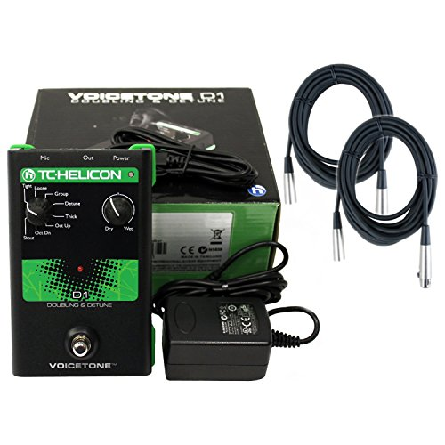 TC Helicon D1 Vocal Doubling and Detune Effects Pedal w/Power Supply and 2 20' XLR Mic Cables by TC Electronic