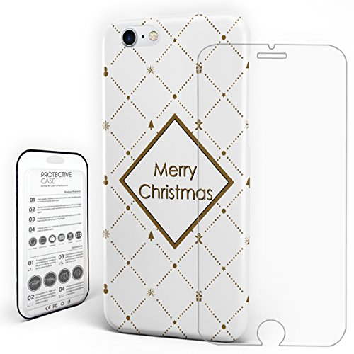 For iphone 8 Case Cover Protector Ultra-Slim PC Protective Back Cover With Tempered Glass Screen Merry Christmas Theme Lattice Print