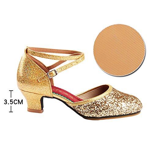 Shoes 5cm Heel 3 Girl's Gold Upper 5cm Sandals 3 Shoe 5 Professional With ZooBoo 5 Women's Heel High Latin Ballroom Heel Latin Ballroom Dance Shoes Satin Dance B8Hqp