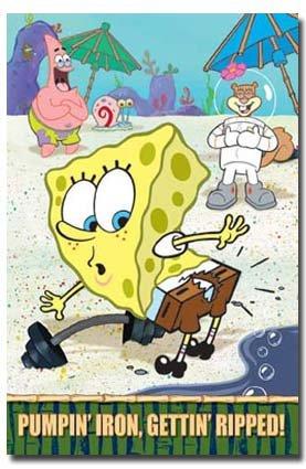 Sponge Bob Poster Pumpin' Iron Funny Hot New