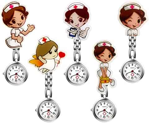 Ladies Nurse Watch Cute Cartoon Clip-on Lapel Hanging-Pendant Doctor Clinic Staff Tunic Stethoscope Badge Quartz Fob Pocket Watch - 5 Pack