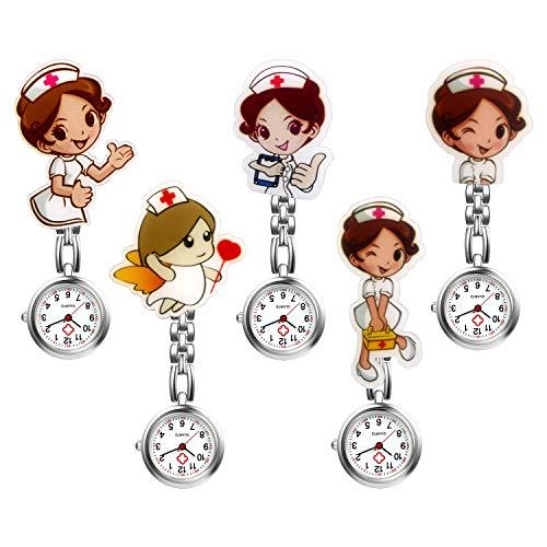 Women Nurse Watch Cute Cartoon Clip-on Lapel Hanging-Pendant Doctor Clinic Staff Tunic Stethoscope Badge Quartz Fob Pocket Watch - 5 Pack