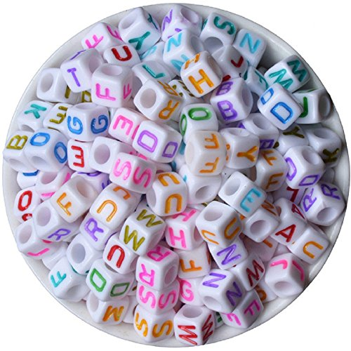 600 Pieces 6mm DIY White Colorful Acrylic Alphabet Letter Cube Beads for jewelry making, Bracelets, Necklaces,Children's Educational Toys, Key Chains and Kids -