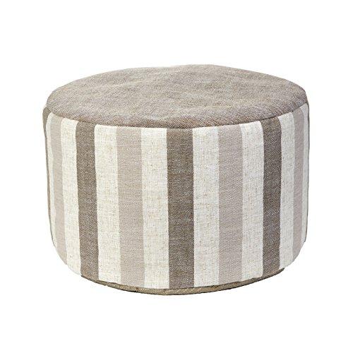Klear-Vu-Liza-Stripe-Taupe-20-Round-Ottoman-Pouf