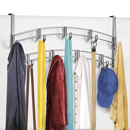 Large Product Image of Lynk Over Door Accessory Holder - Scarf, Belt, Hat, Jewelry Hanger - 9 Hook Organizer Rack - Platinum