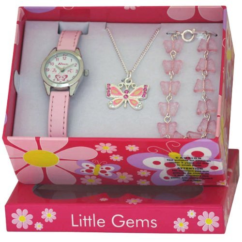 Ravel - Little Gems Watch With Matching Butterfly Necklace And Bracelet from Ravel