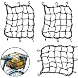 """Creatiee 3Pcs Luggage Cargo Net, 15'' Elastic Net Pocket with 6 Rubber-Tipped Metal Hooks & Tight 3""""x 3"""" Mesh for Motorcycle ATV Bike Bicycle"""
