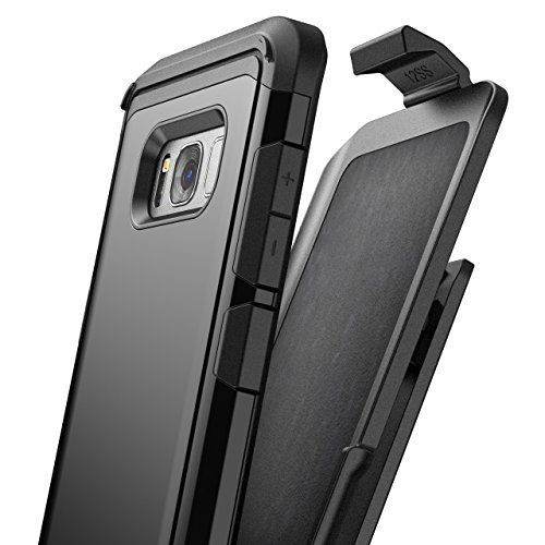 Galaxy S8 Plus Belt Clip Case, Premium Tough Protection w/Holster - R5 by Encased (Samsung S8+) (Smooth Black)
