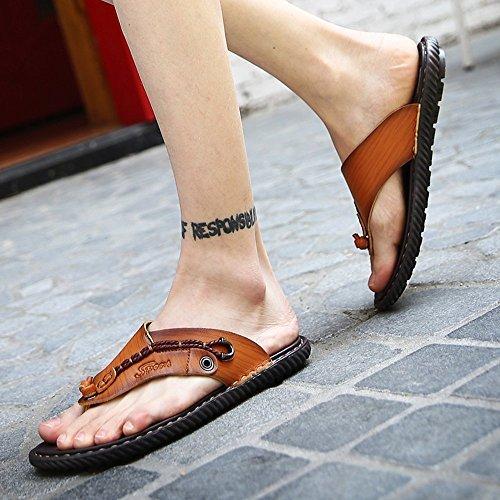 Cystyle Herren Sommer Flache flip flop Hausschuhe Pantoletten Zehentrenner Sport Outdoor Sandalen Schuhe Braun