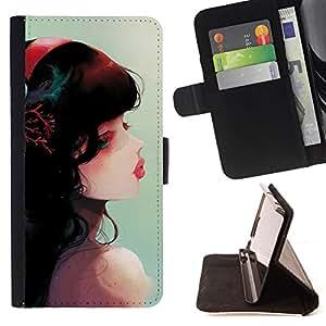 - Cute Fantasy Girl - - Monedero PU titular de la tarjeta de cr????dito de cuero cubierta de la caja de la bolsa FOR HTC Desire 820 RetroCandy