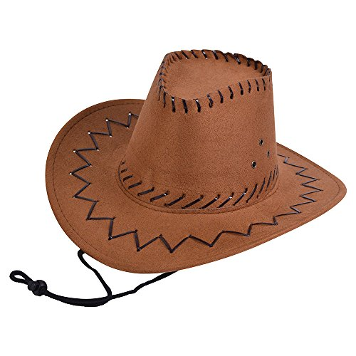 (Bristol Novelty BH488 Childs Cowboy Hat Leather Stitched Brown, One)