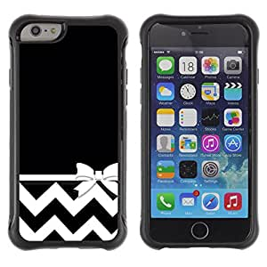 WAWU Funda Carcasa Bumper con Absorci??e Impactos y Anti-Ara??s Espalda Slim Rugged Armor -- black chevron white minimalist bow -- Apple Iphone 6 PLUS 5.5