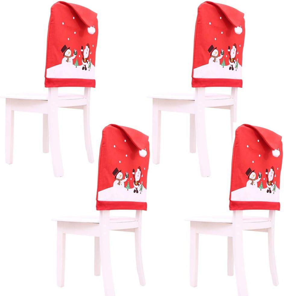 4 Fundas protectoras para sillas temáticas de Navidad - Rojo y blanco con pompones - Perfecto para fiestas y celebraciones navideñas
