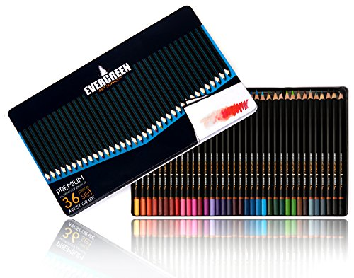 Evergreen Art Supply 36 Water Soluble Colored Pencils Set with Tin