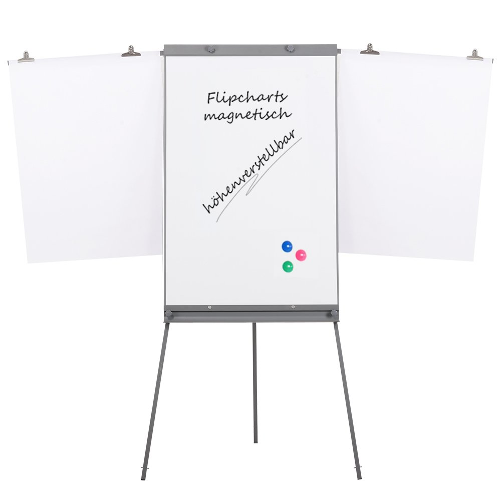 Swansea Adjustable Flipchart Easel Dry Erase Boards Magnetic Tripod Whiteboard 40X26 inches with 2 Side Arms