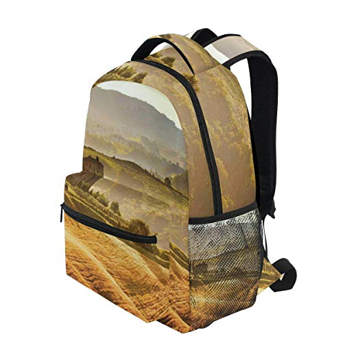 KVMV Siena Tuscany Retro Farm House Trees Old Path Country Landscape On Sunse Lightweight School Backpack Students College Bag Travel Hiking Camping Bags